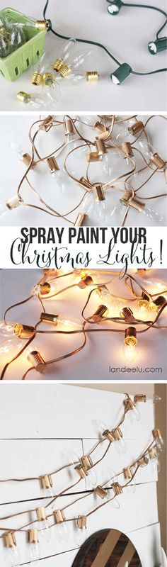 Make the lights part of the centerpiece with a couple coats of gold spray paint.