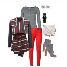 Red jeans striped sweater, oh and gray boots!!!