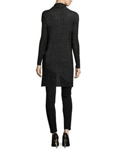 -61DY Eileen Fisher Shimmered Knit Draped Cardigan, Silk Asymmetric Draped Shell & Ponte Leather-Blocked Leggings