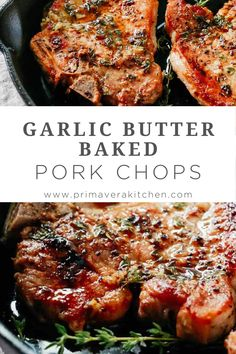 Garlic Butter Baked Pork Chops (Super easy to make!) Garlic Butter Baked Pork Chops are juicy, tender, and super-flavorful thanks to the amazing butter sauce. It takes less than 20 minutes to make this recipe. Easy Pork Chop Recipes, Pork Recipes, Cooking Recipes, Dinner Recipes With Pork Chops, Free Recipes, Tender Pork Chops, Boneless Pork Chops, Thin Pork Chops, Southern Fried Pork Chops