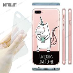 Cute Unique Unicorn Cartoon Transparent Ultra Thin Flexible Soft Silicone Phone Case Back Cover For Apple iPhone 5S 6 6S 7 6Plus