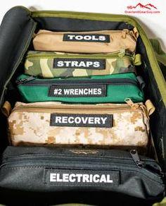 Jeep Wrangler Discover Overland Tool Bag Organizer Kit - Complete Set Overland Tool Bag Organizer - Vehicle Tool Bag Organizer by Overland Gear Guy Overland Gear, Overland Truck, Jeep Wrangler Accessories, Jeep Accessories, Toyota Tacoma Accessories, Jeep Jk, Jeep Wrangler Camping, Jeep Gear, Chevrolet Blazer