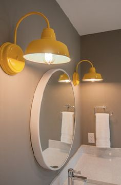 """I love the lights! They were the final touch that this space needed to create a fresh, young, and modern look in this bathroom. One that any kid would be lucky to have."" - @Alykhan Velji Designs"