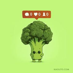 Funny, cute and sad illustartion of a broccoli on social media, funny baby vegetables, top artwork from Naolito illustration, Funny Drawings, Kawaii Drawings, Cartoon Drawings, Cute Puns, Funny Puns, Funny Doodles, Funny Illustration, Cute Cartoon Wallpapers, Funny Images