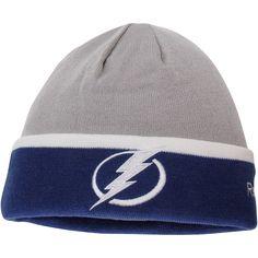 fcf58baf176 Men s Tampa Bay Lightning Reebok Gray Team Logo Cuffed Knit Hat