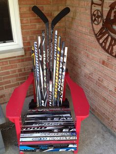 The perfect St. Louis Blues man cave addition - looks like I know what to do with coreys broken sticks! (Or find some and save the money!)