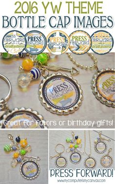 2016 YW Theme Printable, Press Forward with a Steadfastness in Christ - Bottle Cap Images, Camp Craft, Favor for New Beginnings, LDS, birthday gift #mycomputerismycanvas