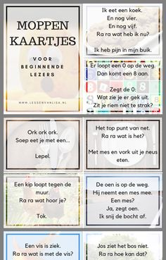 Moppen voor de beginnende lezer Learn Dutch, School Stress, Dutch Language, Challenge Games, Best Teacher Ever, Kids Education, Kids Learning, Kids Playing, Coaching