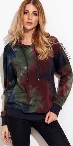 3c0ecdb195aa Multicolor Tie Dye Print Drop Shoulder Hoodie Fashion Styles