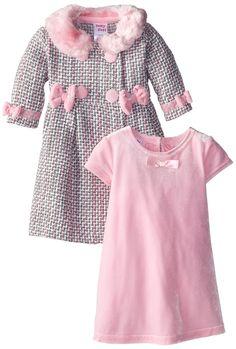 Blueberi Boulevard Baby-Girls Newborn Pink Grey Stretch Velvet Coat Dress, Pink, 3-6 Months