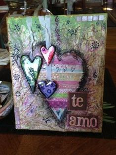 Mixed media canvas / hearts by nelda