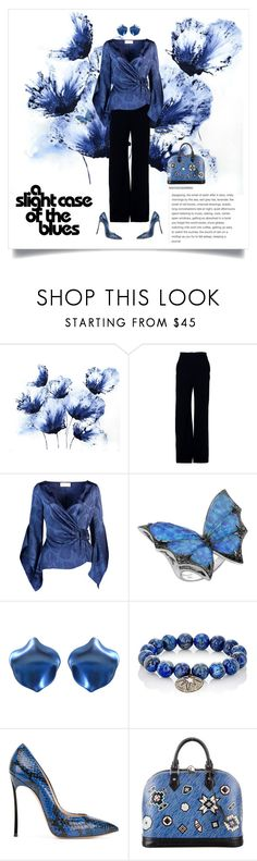 """""""the blues"""" by shoecraycray ❤ liked on Polyvore featuring Brandon Maxwell, Peter Pilotto, Stephen Webster, Carole Shashona, Casadei and Louis Vuitton"""