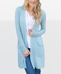 Slate Blue Pocket Open Cardigan - Women  zulilyfinds 7c2755193bc