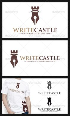 Pen Castle Logo Template — Vector EPS #write #medieval • Available here → https://graphicriver.net/item/pen-castle-logo-template/3915595?ref=pxcr