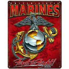 USMC 'Eagle, Globe And Anchor' 7.62 Design Vintage Steel Sign