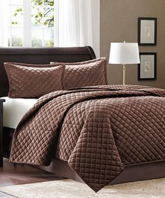 Look what I found on #zulily! Chocolate Square Quilted Coverlet Set #zulilyfinds