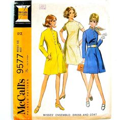 60s A-Line Dress Pattern Mod Coat Princess Seams Stand Up Collar Long Short Sleeves Vintage Sewing McCalls 9577 Women Size 12 Bust 34