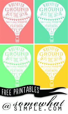 Free Hot Air Balloon printable, by Sarah at somewhat simple (perfect printed smaller for filler cards but letter-sized so they're large enough for an 8x10 frame) #ProjectLife