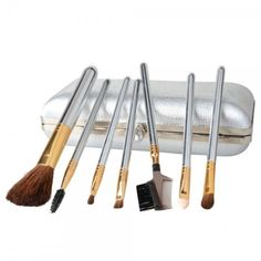 7pc Silver handled Makeup Brush Set w/case from Taberna Meos for $26.99 on Square Market