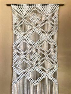 Large Macrame Wall Hanging Natural White Cotton Rope