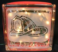 firefighter sandblasted glass block light