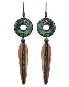 Patina & Burnished Copper Tone / Lead&nickel Compliant / Metal / Fish Hook / Dangle / Earring Set