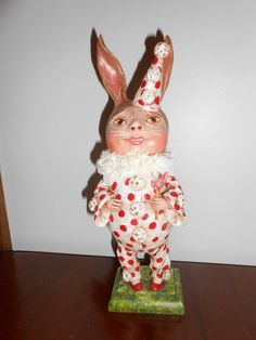 "BUNNY GIRL IN RED PAJAMAS, 11.5"" tall, 2013 Original Debra Schoch piece.  Paper Clay Material."