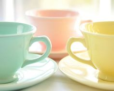 Blue, yellow, pink tea cups