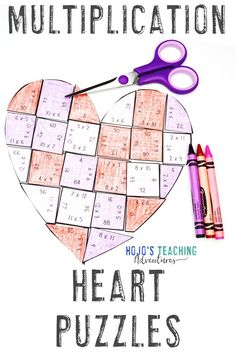 If you're on the lookout for some more math practice this February, you're going to love these multiplication heart puzzles. Use them with your 3rd, 4th, or 5th grade upper elementary or homeschool students. Great for review, math centers, stations, activities, to decorate a bulletin board, make a Valentine's Day card, and more. Click through to see how you can use these with your third, fourth, or fifth graders. Check out the FREE download too! #HoJoTeaches #ValentinesDay