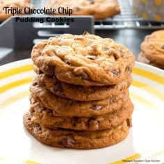 There's plenty of chocolate to love in these loaded Triple Chocolate Chip Pudding Cookies filled with a trio of chocolate chips. Banana Pudding Cream Cheese, Cream Cheese Pound Cake, Cookie Recipes, Dessert Recipes, Desserts, Southern Pound Cake, Chocolate Chip Pudding Cookies, Semi Sweet Chocolate Chips, Holiday Baking