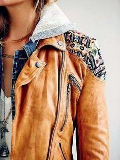 3b509a2c35788 Light brown ladies hood jacket Brown Leather Jackets, Brown Jacket, Hooded Leather  Jacket,