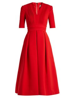 Preen Elle Stretch Cady DressPreen By Thornton Bregazzi combines striking colour and a ladylike silhouette to create this alluring Elle dress. Red V Neck Dress, Dress Up, Dress Prom, Dress Long, Casual Dresses, Fashion Dresses, Full Skirts, Stretch Dress, Elegant Outfit