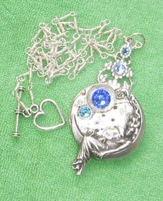 VTG Steampunk 17 RUBY Jeweled SWISS Moon Goddess Necklace larp by Connor Kitsune Designs $15.99