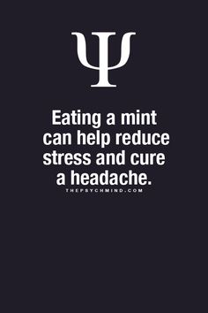 Eating a mint can help reduce stress and cure a headache