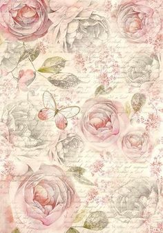 """Motiv Strohseide """"Shabby Rose"""" mit Rosen-Motiv in Pastell-Tönen Best Picture For Decoupage techniek For Your Taste You are looking for something, and it is going to tell you exactly what you are looki Decoupage Vintage, Papel Vintage, Floral Vintage, Vintage Diy, Shabby Vintage, Vintage Paper, Vintage Flowers, Vintage Prints, Vintage Ideas"""