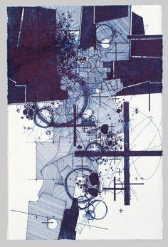 """Asvirus 56  Derek Lerner - 2014 ink on paper 10"""" x 6.5"""""""