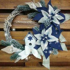 Coccarda 30 cm con stella natalizia blu