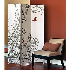 Decorate your floor to get an attractive look by choosing Bota Three Panel Taupe and Black Floral Design White Canvas Room Divider from AZ Home and Gifts. Office Room Dividers, Folding Room Dividers, Folding Screens, Privacy Screens, Interior Exterior, Interior Design, Design Room, Chinese Room Divider, Rama Seca