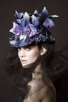 Theatrically Charged Headpieces - The Photoshoot Starring Marine by Milos is Darkly Romantic (GALLERY) #millinery #judithm #hats