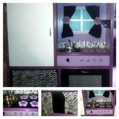 Purple Zebra Print Kitchen. $325. Complete with an oven, refrigerator with shelves and a storage area.    SOLD!!!!    http://www.facebook.com/pages/Kid-Murals-by-Dana-Railey/185489341492985