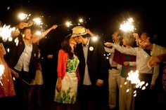 Who says #sparklers are reserved just for #weddings? Use them at your #engagement party, like this couple did!