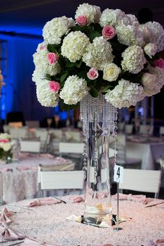 Stunning flower arrangements for a quinceañera reception at 1010 Collins.