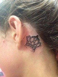 Crown Tattoo Behind The Ear