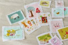 fabric stamps for doll quilt   Plum and June