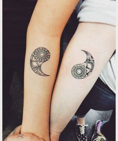 Separate Yin Yang tattoos on each arm. You can be artistic and ink the two aspects of the Yin Yang on one arm and one on the other. The intricate details on the Yin Yang elements also look amazing. Twin Tattoos, Sibling Tattoos, Body Art Tattoos, Small Tattoos, Sleeve Tattoos, Tatoos, Twin Sister Tattoos, Flower Tattoos, Arabic Tattoos