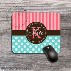 Monogrammed Mouse pad Cute Tiffany blue polka by ButterflyGhost, $11.49