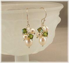 Olive Green & Pearl  Earrings Green Bridesmaid by BridalDiamantes
