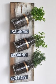 Spice jar planters - love this idea.  Wondering if it would work over the sink....