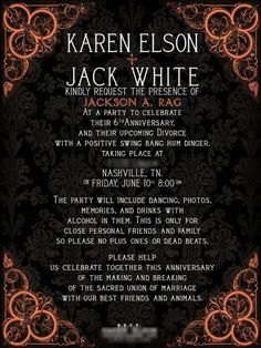 Jack White and Karen Elson divorce celebration invitation