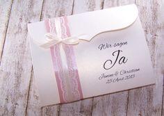 Vintage Kollektion Einladungen zur Hochzeit mit Spitze im Vintage-Style mit schmaler oder breiter Spitze in altrosa und kraft